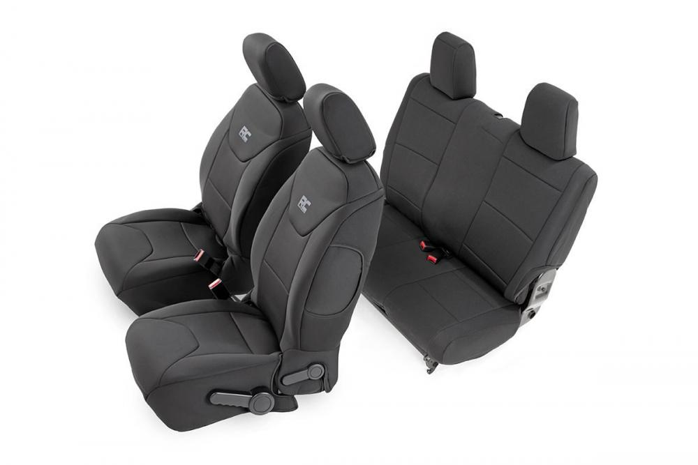Jeep Neoprene Seat Cover Set | Black [13-18 Wran
