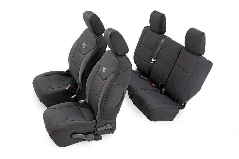 Jeep Neoprene Seat Cover Set | Black [11-12 Wran