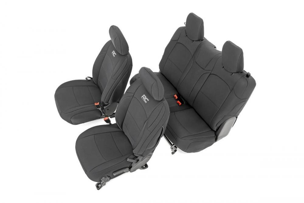 Jeep Neoprene Seat Cover Set | Black [18-20 Wran