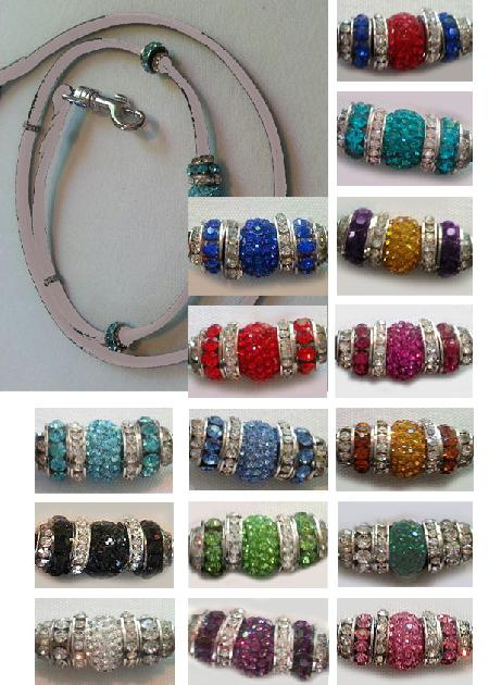 Leather Snap Leads with Swarovski Beads