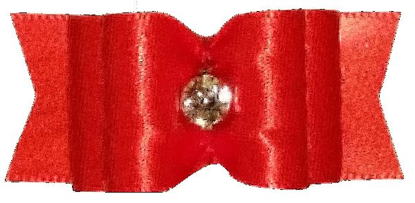 Yorkie Bow with Tags Poppy