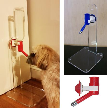 Lucite Water Bottle Stand with Adapter and Bottle