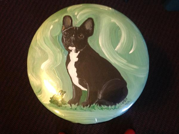 Handpainted Folding Stool - Frenchie Puppy