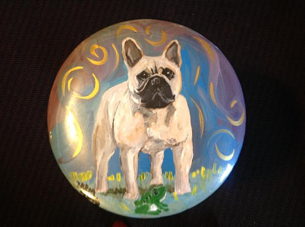 Handpainted Folding Stool - Frenchie Standing