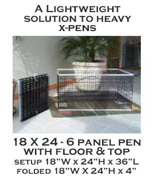 18 X 24- 6 Panel X-Pen with floor and top - each panel 18w X 24h