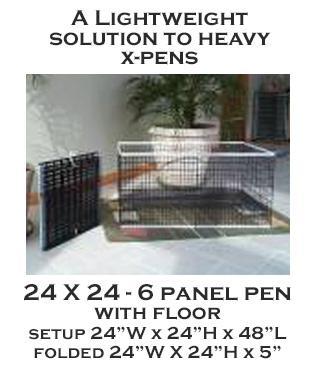 24 X 24- 6 Panel X-Pen with floor - each panel 24w X 24h