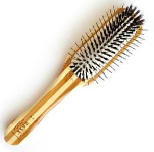 Bass 100% Premium Natural Bristle Oblong   Alloy Pin Grooming Brush