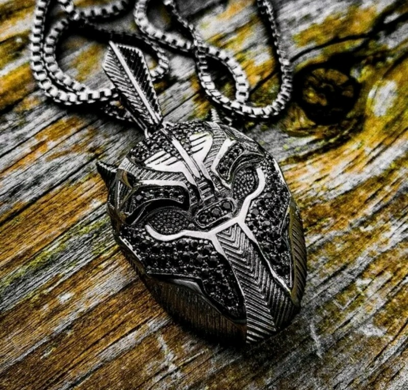 Black Panther Hematite Plated Iced out Pendant and 2...