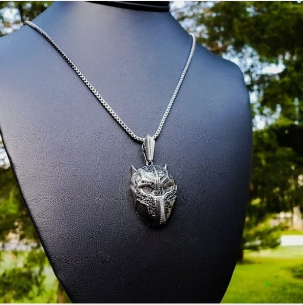 Black Panther Hematite Plated Iced out Pendant and 24